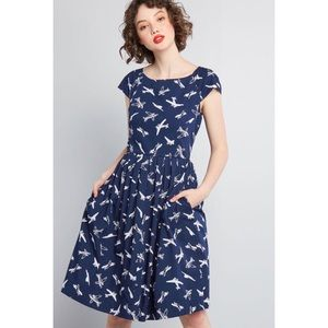 ModCloth Unmatched Panache Airplane Midi Dress